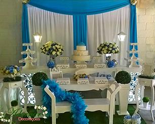 Decoração 15 Anos Azul e Branco