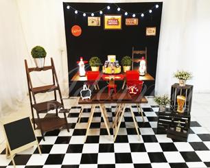 Locação Decoração Boteco Chá Bar Para Aniversário Adulto Tema em Rústico Com Cavalete
