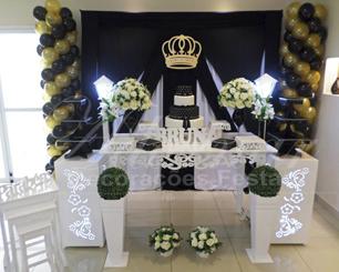 Locação Decoração Para Aniversários Festa Adulto Preto Dourado e Branco