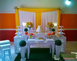 Decoração Casamento Amarelo e Laranja