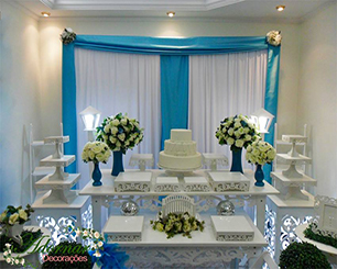Decoração de Casamento Azul Tiffany Com Duas Mesas em Provençal