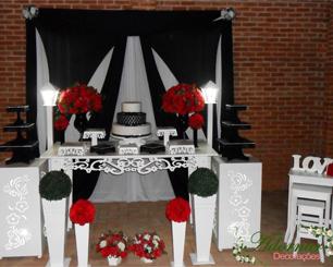 Decoração Casamento Preto e Vermelho