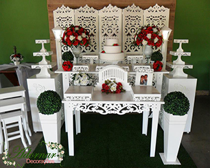 Decoração Casamento Vermelho Com Biombo