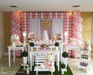 Decoração Chá de Bebê Princesa Ursa Rosa e Branco Com Duas Mesas