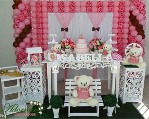 Decoração Chá de Bebê Ursinha Rosa e Marrom Com Mesa Floral