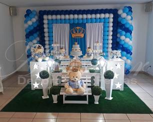 Decoração Chá de Bebê Principe Urso Azul Claro Azul Escuro e Branco Com Duas Mesas