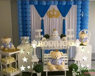 Decoração Chá de Bebê Príncipe Urso Azul Claro e Azul Escuro Com Bolinhas e 1 Mesa Colmeia