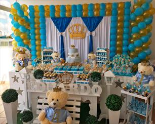 Decoração Chá de Bebê Principe Urso em Azul Claro e Dourado Com Duas Mesas