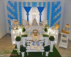 Decoração Chá de Bebê Príncipe Urso Azul e Branco C/ Duas Mesas