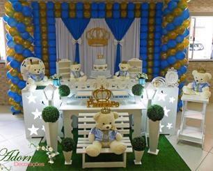 Decoração Chá de Bebê Príncipe Urso Azul e Dourado Com 2 Mesas