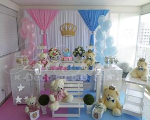 Decoração Chá de Bebê Revelação Azul e Rosa Com Vareta de Balões