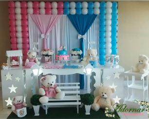 Decoração Chá de Bebê Revelação Rosa e Azul