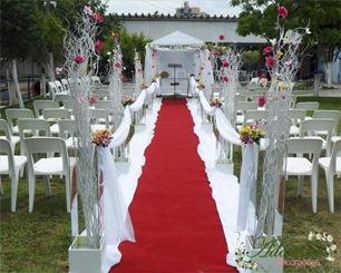 Decoração Corredor de Cerimônia Com Árvore Francesa Rosa Amarelo e Branco