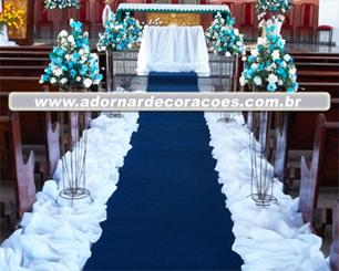 Decoração Corredor de Cerimônia Azul e Branco