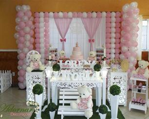 Decoração Infantil Princesa Ursa Rosa e Branco Com Duas Mesas