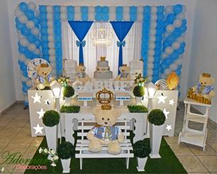 Decoração Infatil Príncipe Urso Azul e Branco Com Duas Mesas