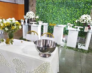 Decoração Casamento Com Mesa de Vidro Branco