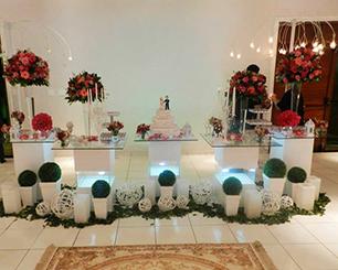 Decoração Casamento Com Mesa de Vidro Vermelho